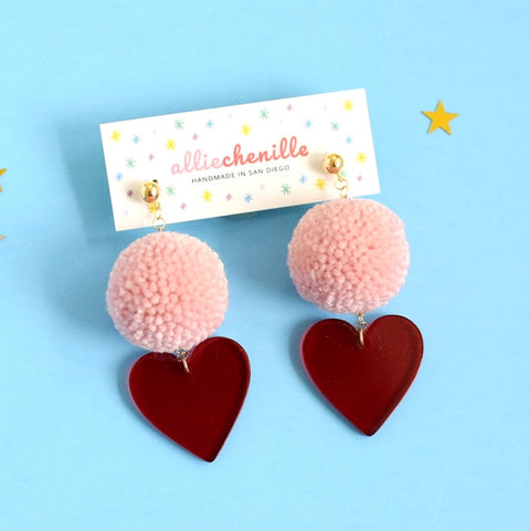 Red heart pom pom earrings