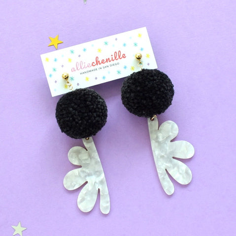 abstract leaf pom pom earrings