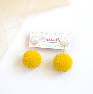 Mini dangle pom pom earrings
