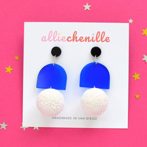 Blue arch pom pom earrings