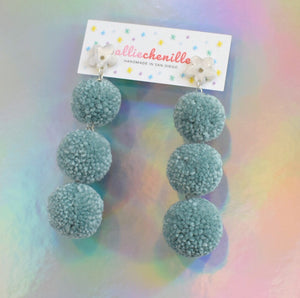 3-tier blue pom pom earrings