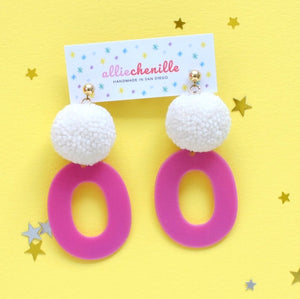 groovy pom pom earrings