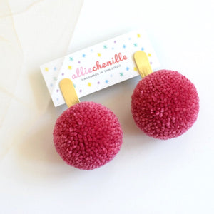 Gold bar pom pom earrings