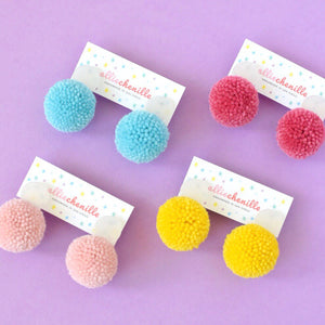 mini pom pom earrings handmade by Allie Chenille