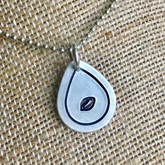 FUNDRAISING OPPORTUNITY Tiny Hand Cut Metal Stamped Football Pendant Charm