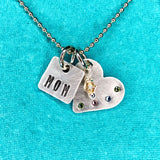 Metal Stamped Mom Tag with Children's Birthstones on Heart Pendant Necklace