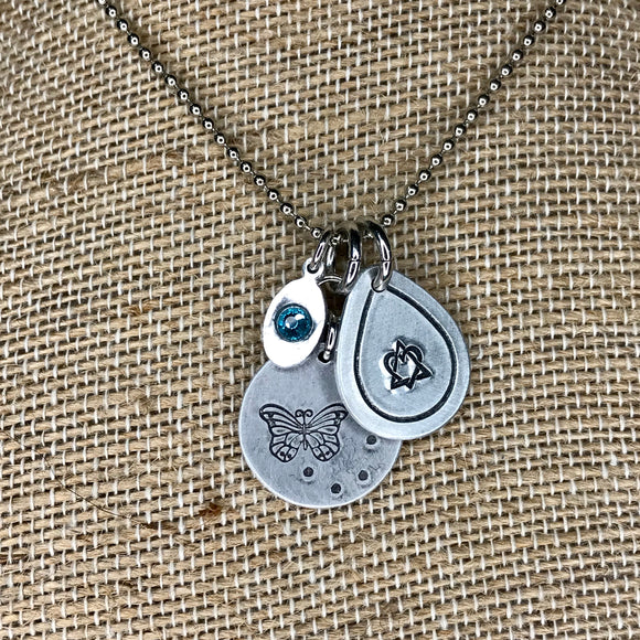 Butterfly + Adoption Necklace with Birthstone Tag