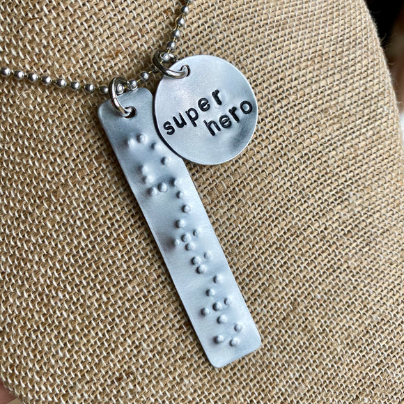 Braille & Print Superhero Charm Set - Hand Cut Metal Stamped Tags