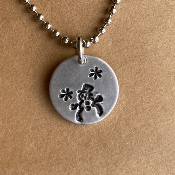 Simple Winter Snowman Necklace