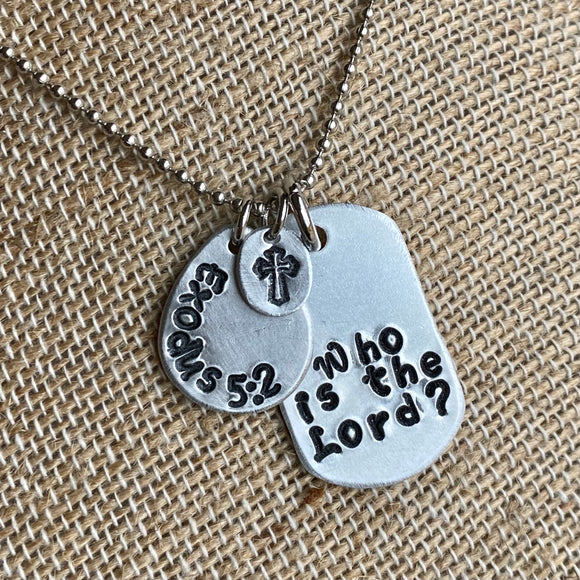 Bible Scripture Charm Necklace - Metal Stamped Custom Made Necklace
