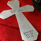 Custom Metal Stamped Handmade Artisan Cross Ornament - Mixed Metals