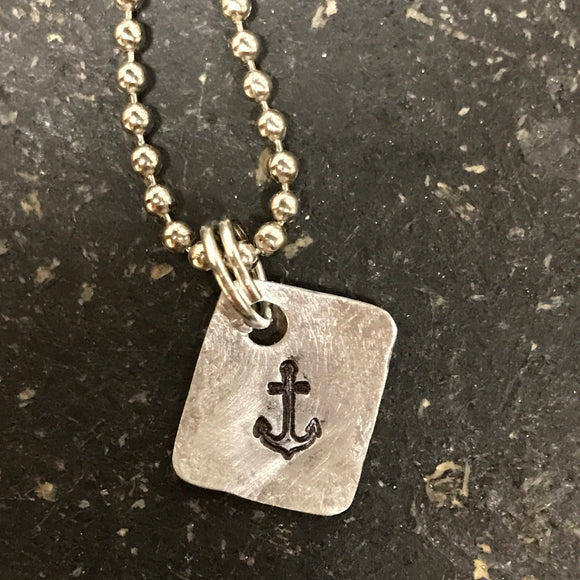 Tiny Hand Cut Metal Stamped Anchor Pendant Charm