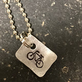 Tiny Hand Cut Metal Stamped Bicycle Pendant Charm
