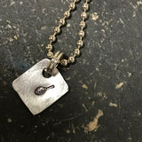 Tiny Hand Cut Metal Stamped Tennis Pendant Charm