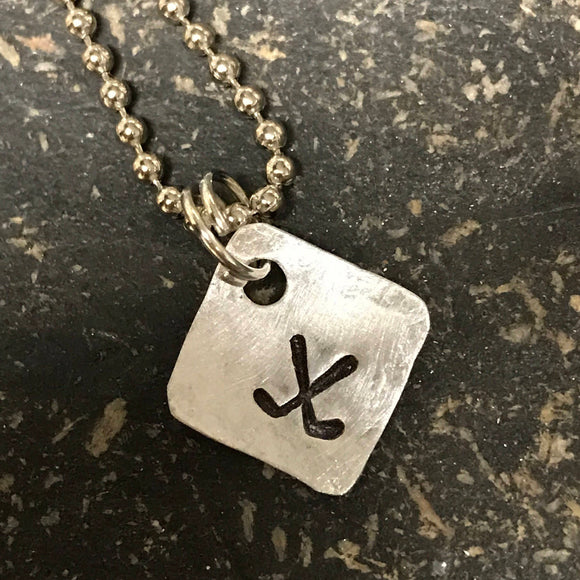 FUNDRAISING OPPORTUNITY Tiny Hand Cut Metal Stamped Golf Pendant Charm