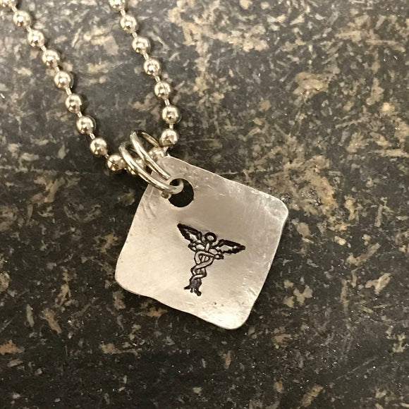 FUNDRAISING OPPORTUNITY Tiny Hand Cut Metal Stamped Medical Alert Pendant Charm