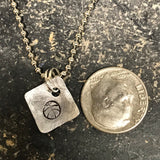 Tiny Hand Cut Metal Stamped Medical Alert Pendant Charm