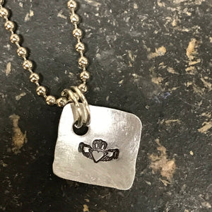 FUNDRAISING OPPORTUNITY Tiny Hand Cut Metal Stamped Irish Claddagh Pendant Charm