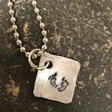 Tiny Hand Cut Metal Stamped Footprint Pendant Charm