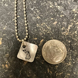 Tiny Hand Cut Metal Stamped Michigan Pendant Charm