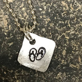 Tiny Hand Cut Metal Stamped Flip Flop Pendant Charm