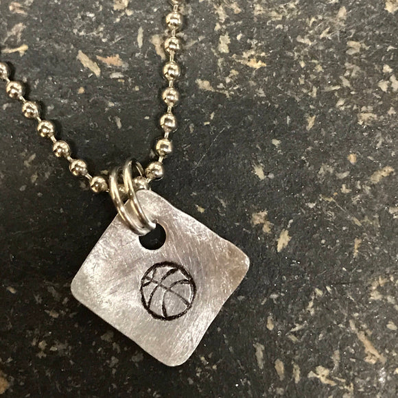 FUNDRAISING OPPORTUNITY Tiny Hand Cut Metal Stamped Basketball Pendant Charm