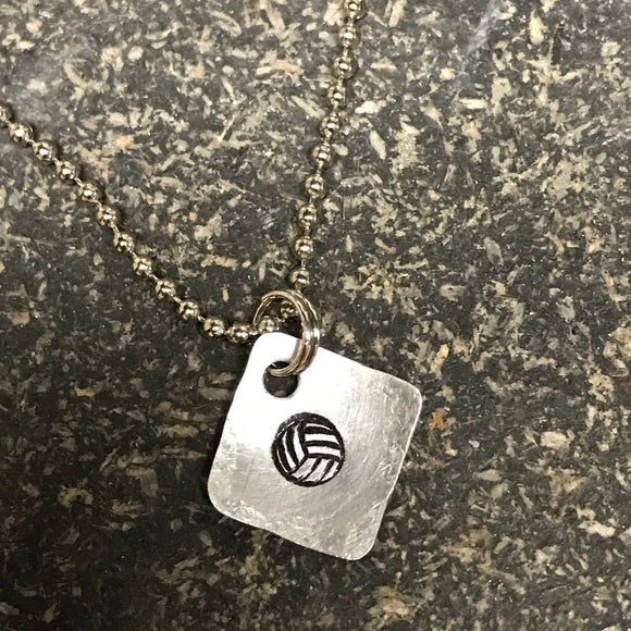 FUNDRAISING OPPORTUNITY Tiny Hand Cut Metal Stamped Volleyball Pendant Charm