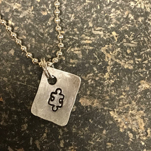 FUNDRAISING OPPORTUNITY Tiny Hand Cut Metal Stamped Autism Puzzle Piece Pendant Charm