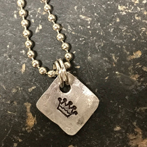 FUNDRAISING OPPORTUNITY Tiny Hand Cut Metal Stamped Crown Pendant Charm