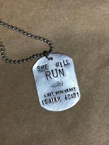 Running Girl Metal Stamped Necklace
