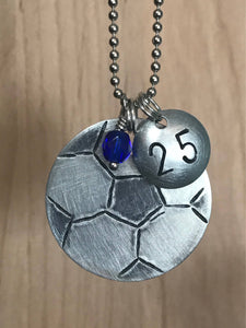 Custom Hand Cut Metal Stamped Soccer Necklace
