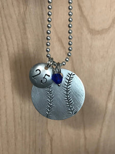 Custom Hand Cut Metal Stamped Baseball Softball Necklace