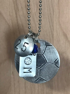 Custom Hand Cut Metal Stamped Soccer MOM Necklace