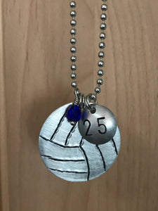 Custom Hand Cut Metal Stamped Volleyball Necklace