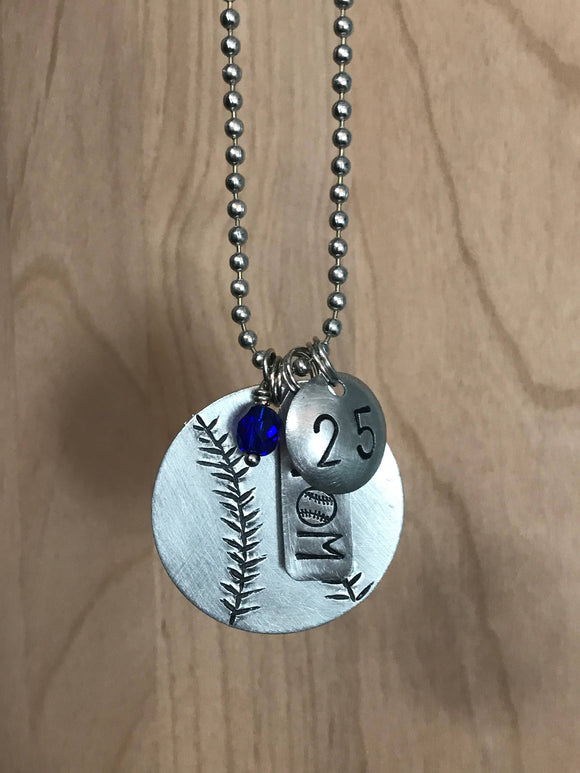 Custom Hand Cut Metal Stamped Baseball Softball MOM Necklace