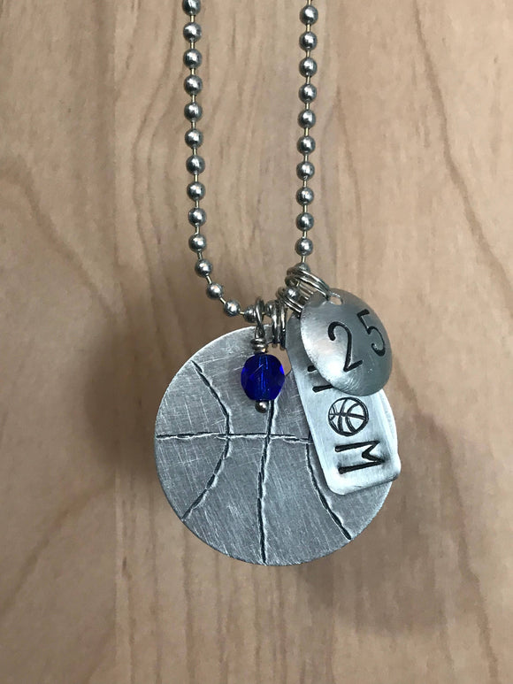 Custom Hand Cut Metal Stamped Basketball MOM Necklace