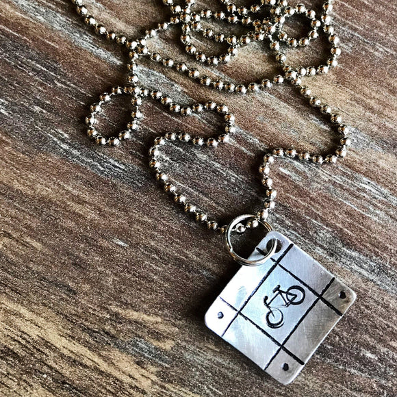 Hand Cut Metal Stamped Framed Bike Bicycle Pendant Charm