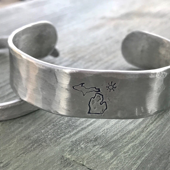 Aluminum Metal Stamped Michigan Sun Bracelet Cuff