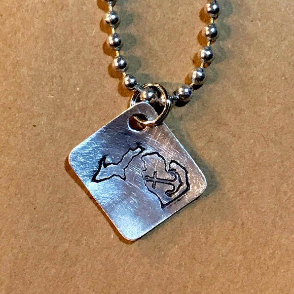Hand Cut Metal Stamped Michigan Anchor Tag Pendant