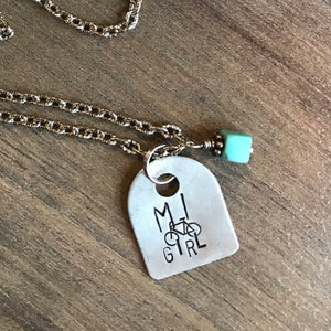 Hand Cut Aluminum Metal Stamped Michigan Girl Bicycle Tag Pendant Charm