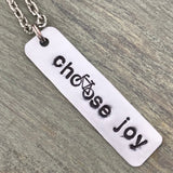 Choose Joy Hand Cut Metal Stamped Bicycle Tag Pendant Charm