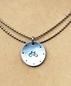 Hand Cut Metal Stamped Framed Bicycle Tag Pendant Charm