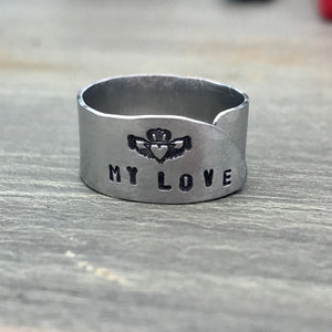 Tiny Hand Cut Metal Stamped Irish Claddagh Ring