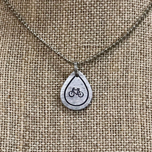 Teardrop Metal Heart Stamped with Bike Bicycle Pendant Charm