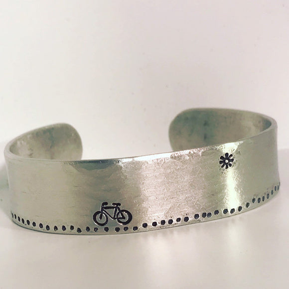 Aluminum Metal Stamped Bicycle Bike Sun Bracelet Cuff