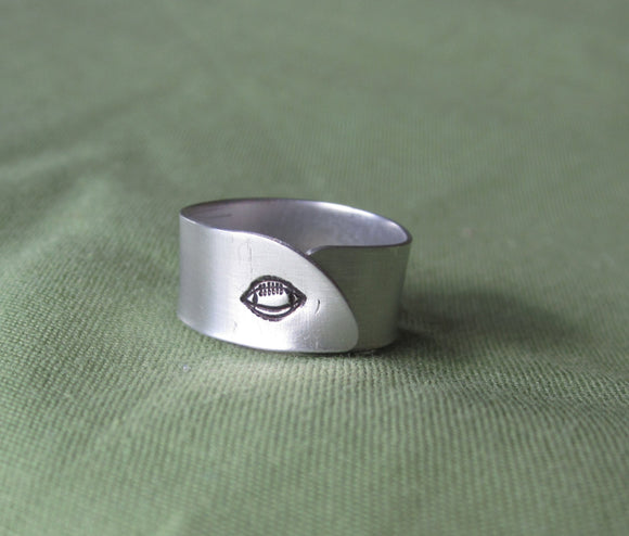 Hand Cut Metal Stamped Football Ring