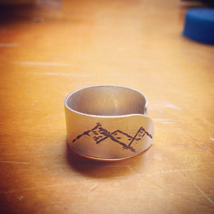 Hand Cut Metal Stamped Mountain Ring