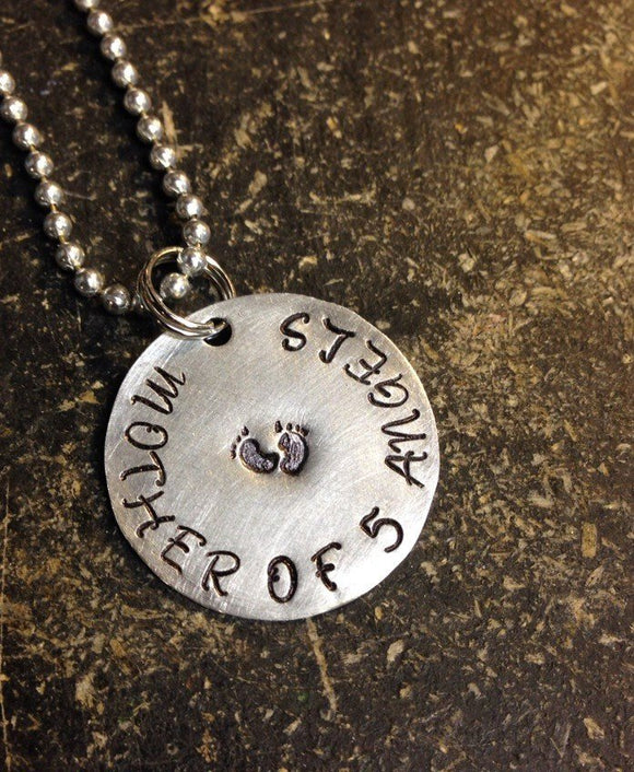 Mother of Angels Custom Stamped Necklace