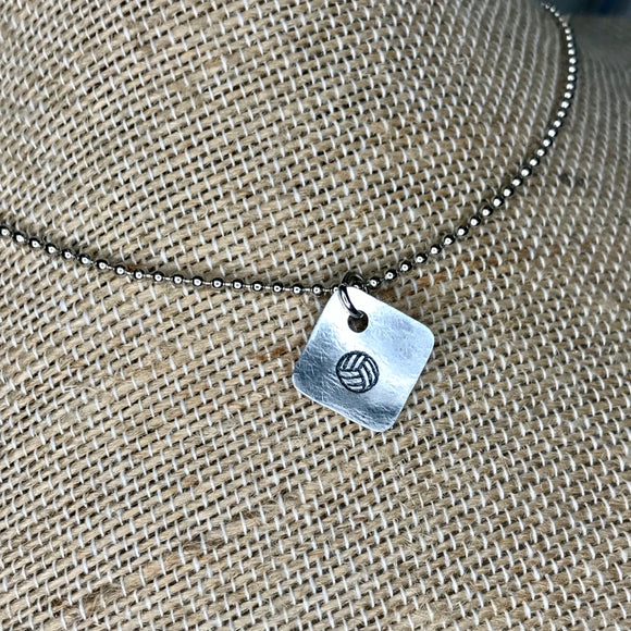 Tiny Hand Cut Metal Stamped Volleyball Pendant Charm