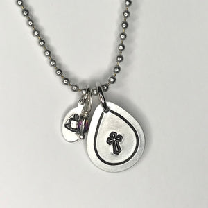 Coffee and Jesus Metal Stamped Necklace